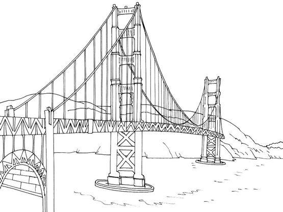 Dessin Du Pont De San Francisco coloriage etats-unis 15 - coloriage etats unis - coloriages cartes