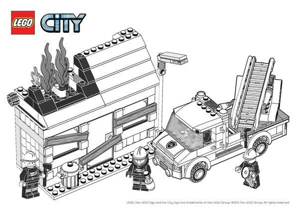 Coloriage Legos Camion.Coloriage Lego City L Incendie Coloriage Lego City Coloriages