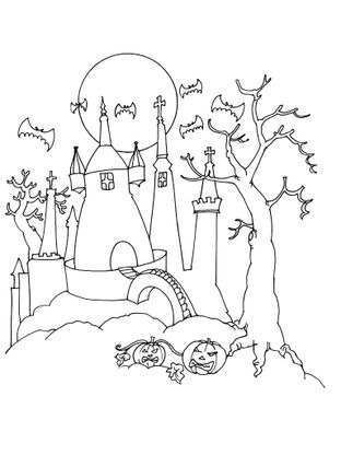 Coloriage Chateau Sorciere.Coloriage Halloween Le Chateau Hante Coloriage Halloween