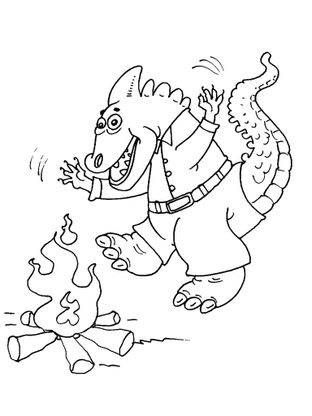 coloriage dinosaure et feu de bois coloriage dinosaures coloriages animaux. Black Bedroom Furniture Sets. Home Design Ideas