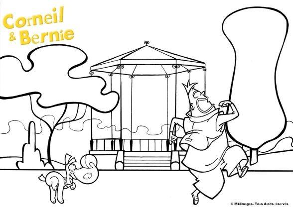 Coloriage corneil et bernie au parc coloriage corneil et bernie coloriages dessins animes - Dessin anime corneil et bernie ...