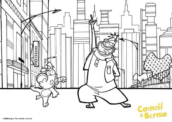 Coloriage corneil et bernie en ville coloriage corneil et bernie coloriages dessins animes - Dessin anime corneil et bernie ...