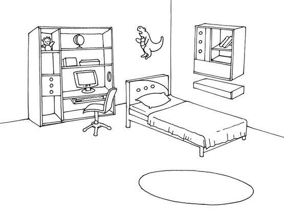 Coloriage Accessoire Chambre : Coloriage chambre coloriages maison
