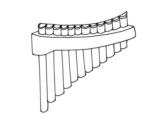 Coloriage la fl te de pan coloriage instruments - Dessin de flute ...