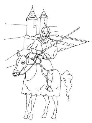 Coloriage chevalier 3 coloriage chevaliers coloriages personnages - Coloriage chateau chevalier ...