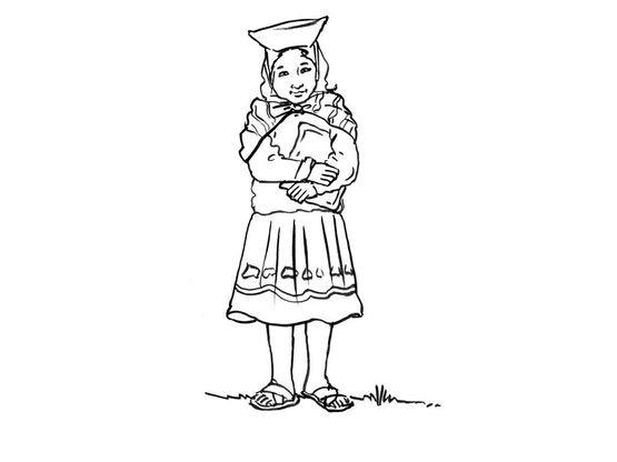 Coloriage petite fille inca 12 coloriage enfants filles - Coloriage personnage fille ...