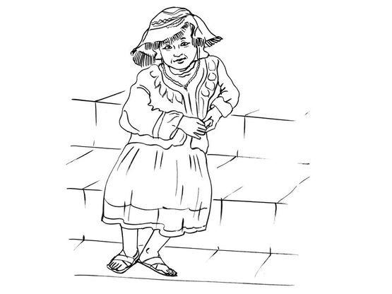 Coloriage petite fille inca 14 coloriage enfants filles - Coloriage personnage fille ...