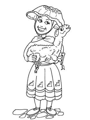 Coloriage petite fille inca 19 coloriage enfants filles - Coloriage personnage fille ...