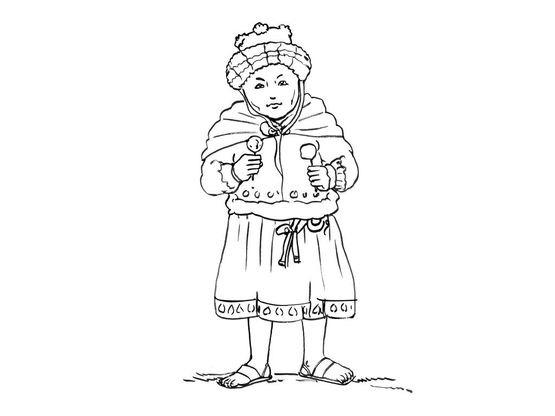 Coloriage petite fille inca 4 coloriage enfants filles - Coloriage personnage fille ...