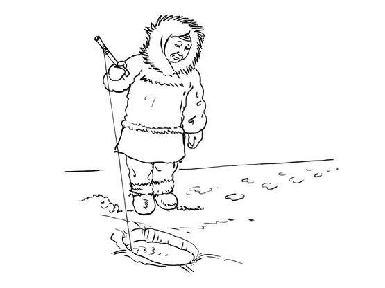 Coloriage petit inuit 10 coloriage enfants garcons inuit - Coloriage enfant garcon ...