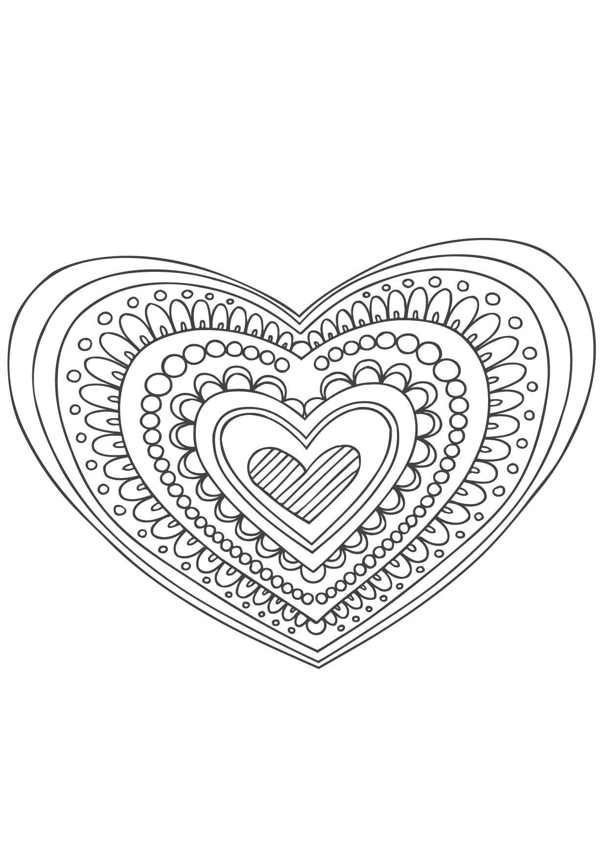 Coloriage Mandala Coeur Coloriage Mandalas Coloriages Chiffres Et Formes