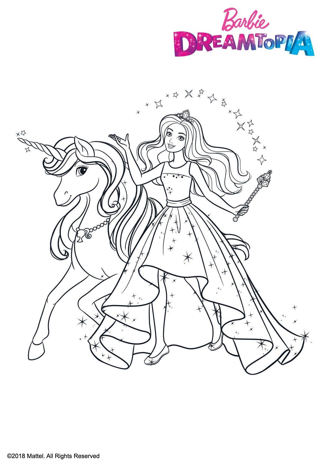 Coloriage Barbie Et La Licorne Ailee Coloriage Barbie Dreamtopia