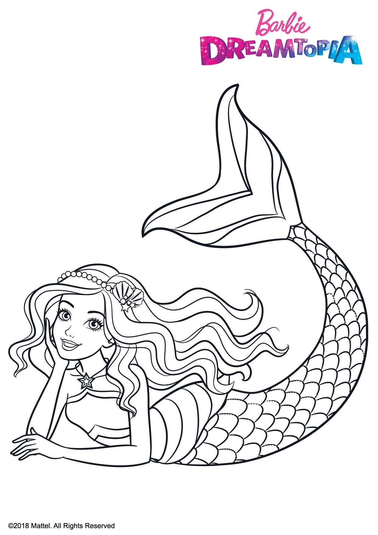 Coloriage Barbie Sirene Arc En Ciel Coloriage Barbie Dreamtopia