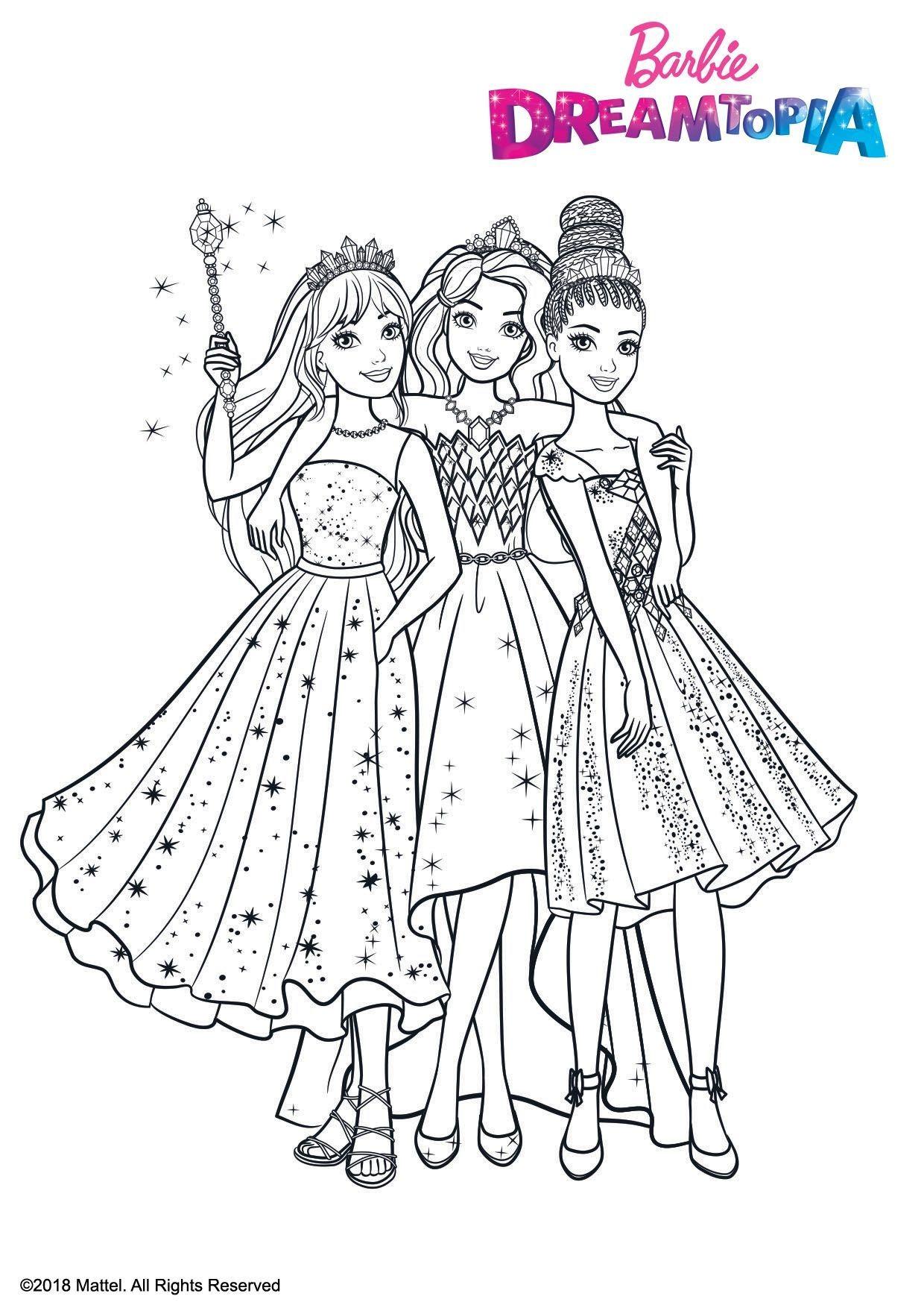 Coloriage Princesse Au Royaume Des Paillettes Coloriage Barbie Dreamtopia Coloriages Dessins Animes