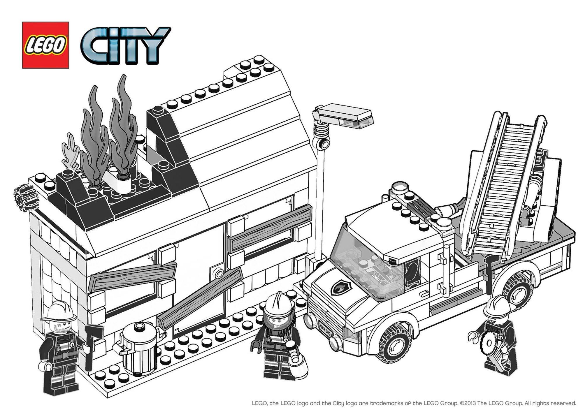 Coloriage Camion Lego.Coloriage Lego City L Incendie Coloriage Lego City