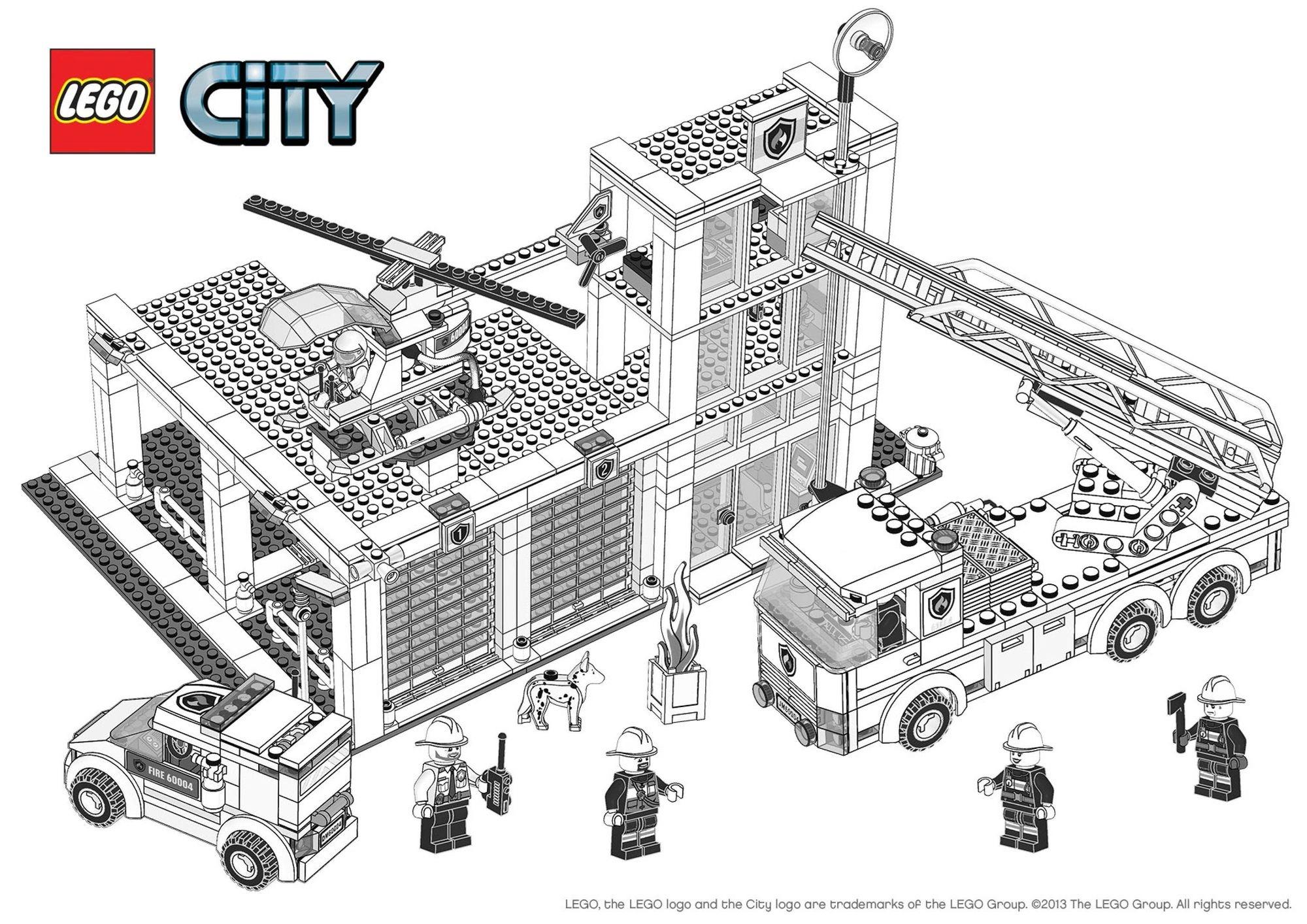 Coloriage Camion Lego.Coloriage Lego City La Caserne Des Pompiers Coloriage