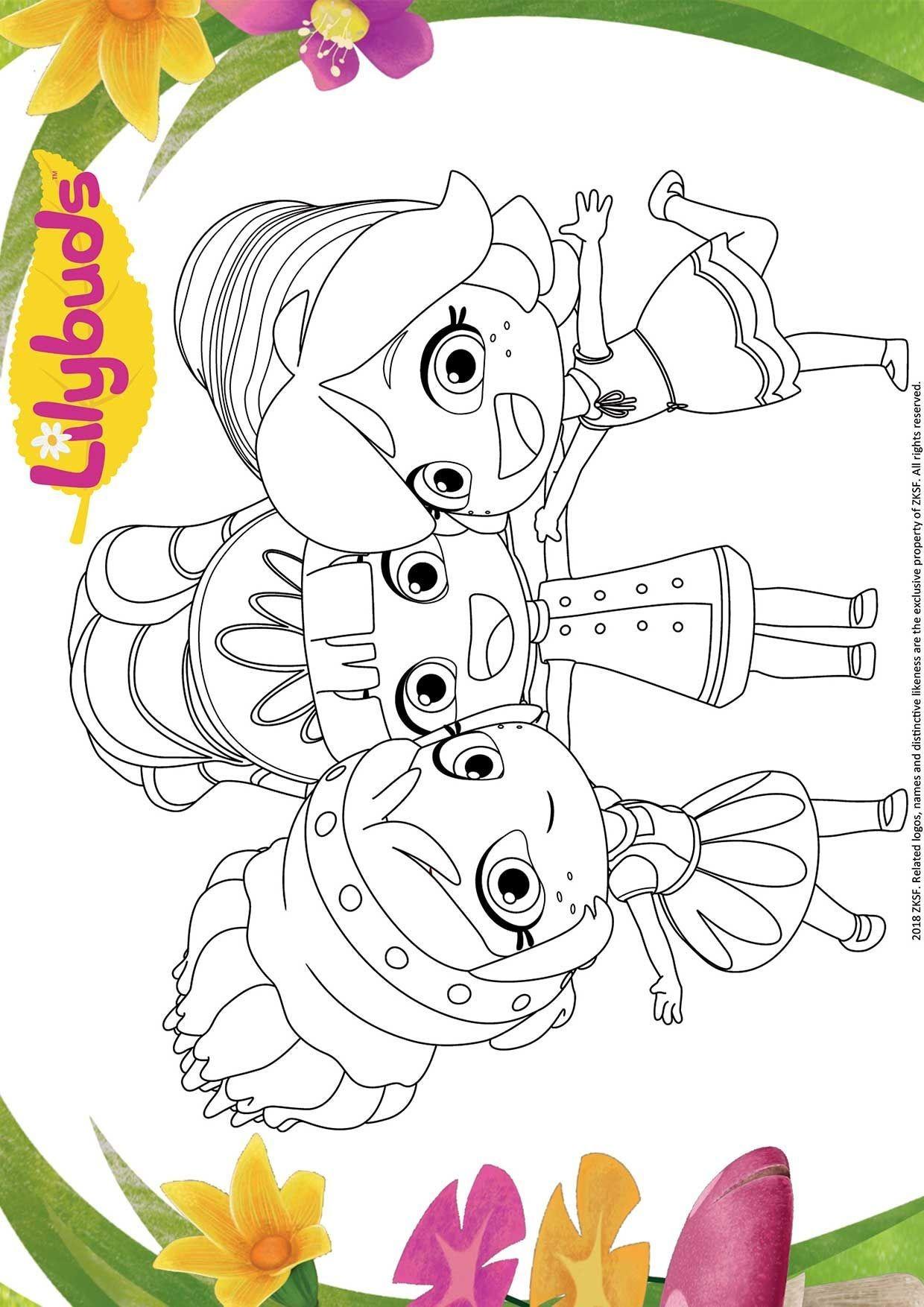 Coloriage Les Trois Amies Réunies Coloriage Lilybuds
