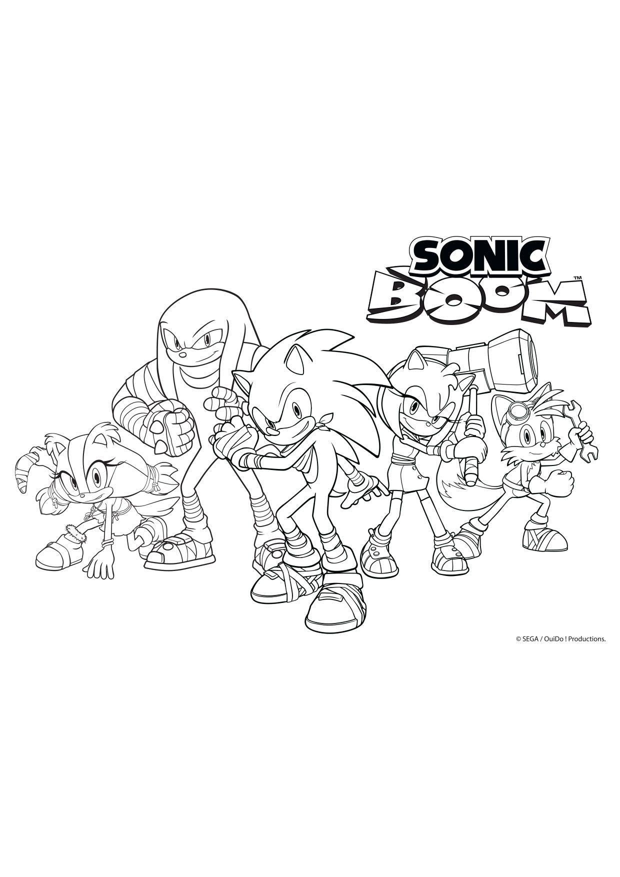 Coloriage La bande de Sonic Boom au complet   Coloriage Sonic Boom ...
