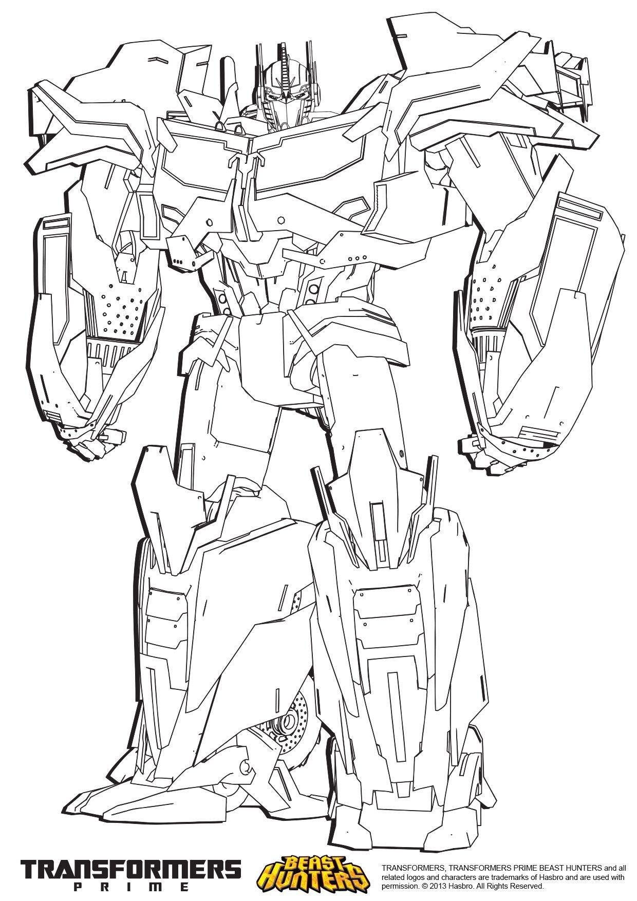 Coloriage Transformers Prime Beast Hunters Optimus Prime Coloriage Transformers Coloriages Dessins Animes