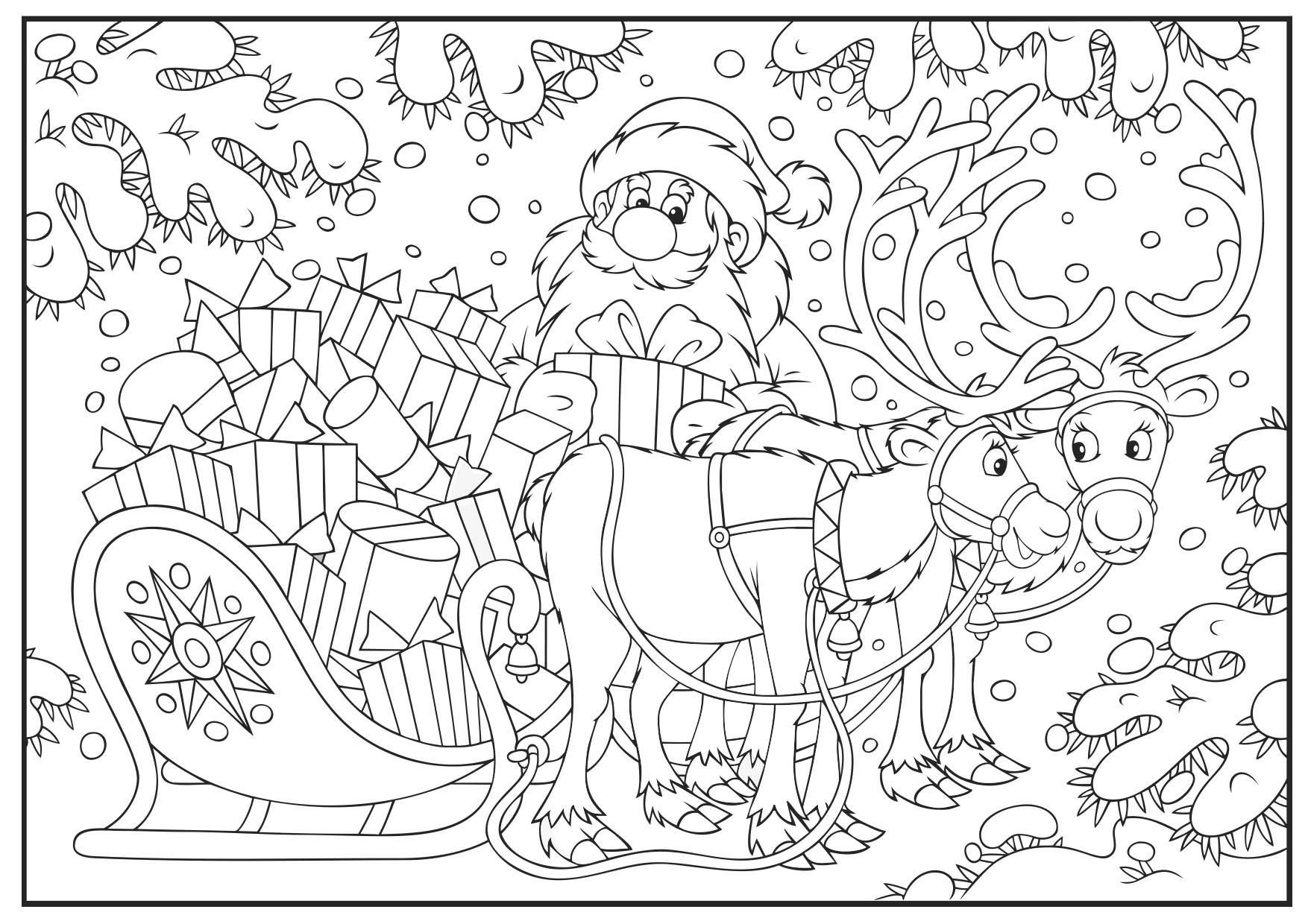 Coloriage Noël : le traîneau plein de cadeaux   Coloriage Noel
