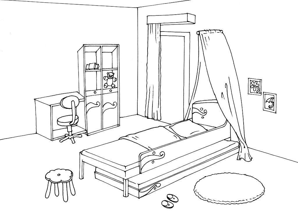 Coloriage Chambre 13 - Coloriage Chambre - Coloriages Maison