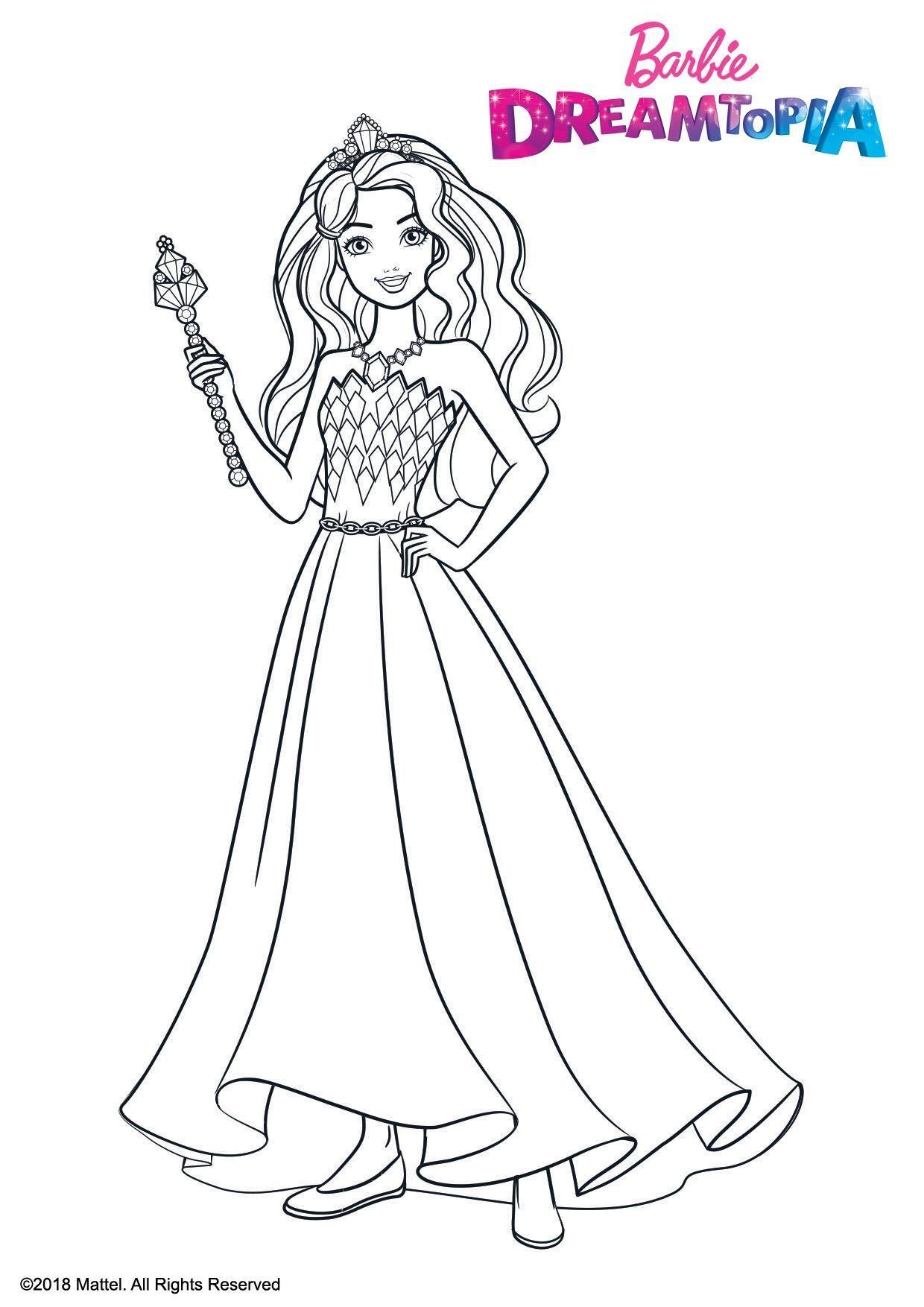 Coloriage Barbie Princesse Pailletes - Coloriage Barbie Dreamtopia - Coloriages Dessins animes