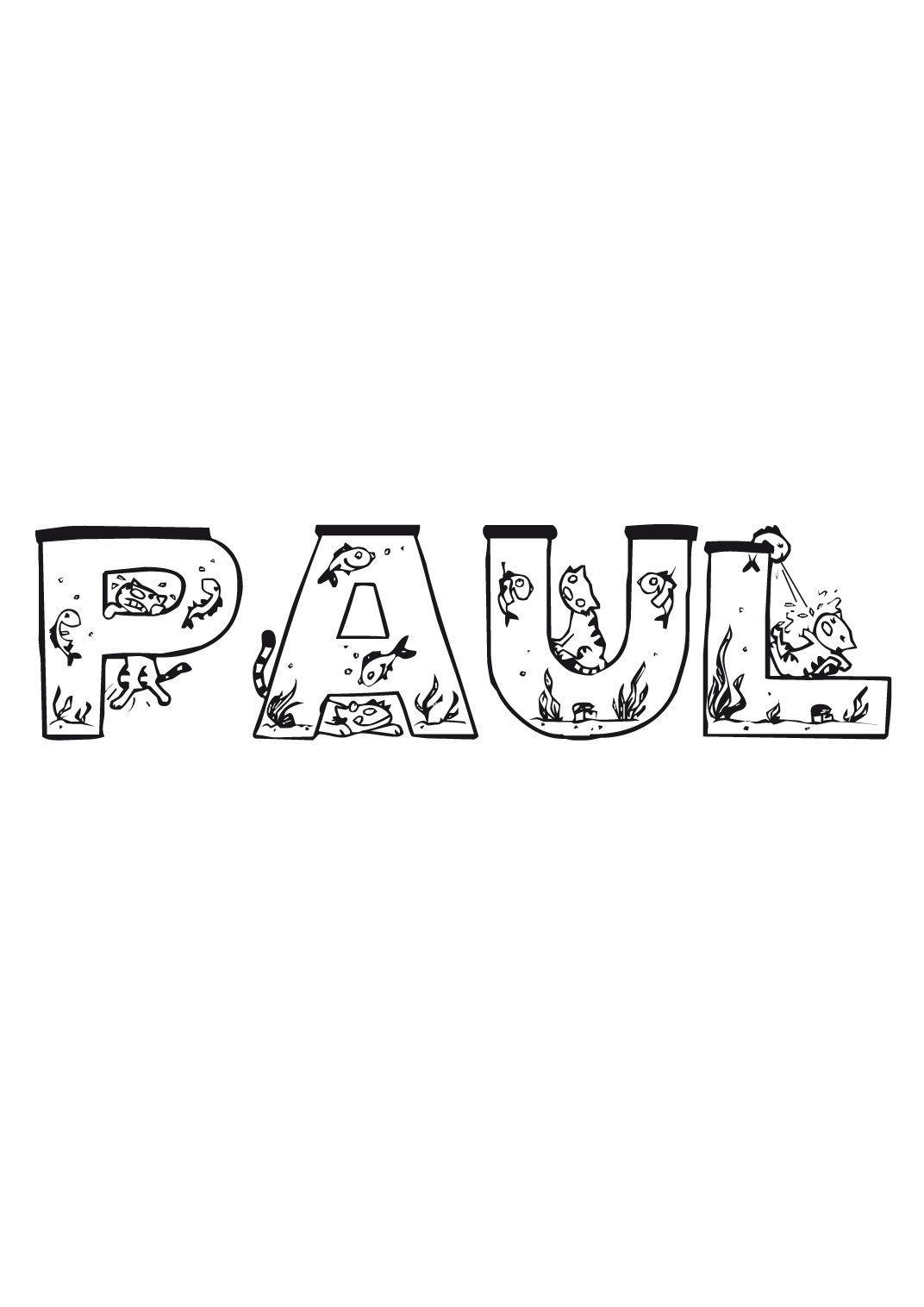 Coloriage Paul - Coloriage Prenoms - Coloriages Divers