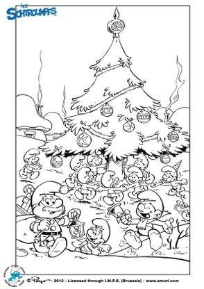 Coloriage Les Schtroumpfs : Noël   Coloriage Les Schtroumpfs