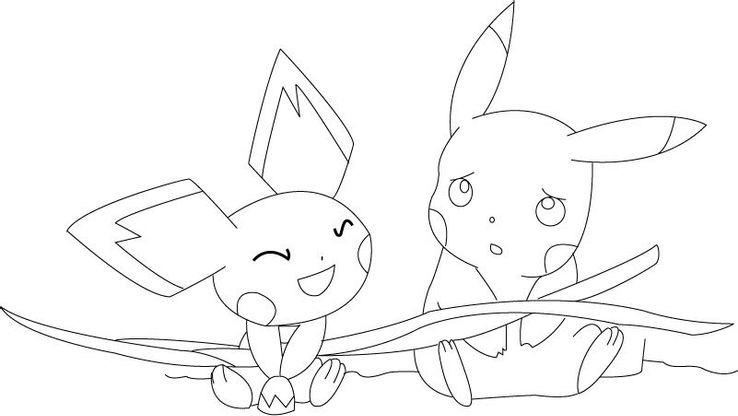 Coloriage Pikachu Et Pichu Coloriage Pokemon Coloriages