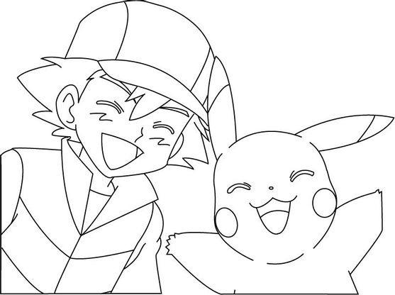 Coloriage Sacha Et Pikachu Coloriage Pokemon Coloriages Dessins