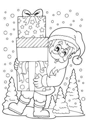 Coloriage Noël : le Père Noël et les cadeaux   Coloriage Noel